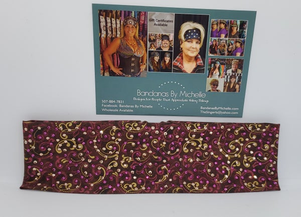 LeeAnnette Rose and Gold Scroll with Fuchsia and Gold Swarovski Crystals (Sku4937)