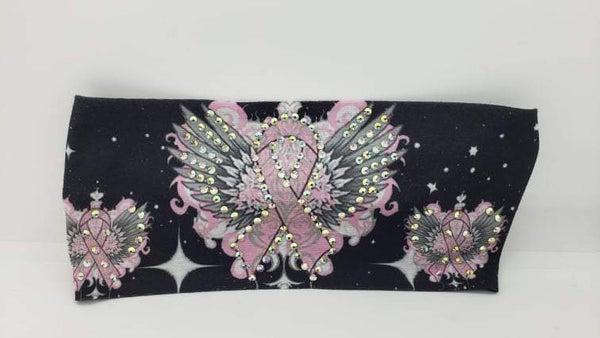 Stretchy Headband Pink Ribbon with Aurora Borealis Crystals (Sku5131)