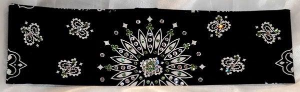 Black Paisley With Peridot and Diamond Clear Swarovski Crystals (Sku1933)