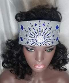 LeeAnnette Grey Paisley with Blue and Diamond Swarovski Crystals (Sku4528)