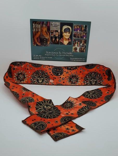 Sun and Moon Headband Strip with Orange, Black and Rose Gold Swarovski Crystals (Sku5541)