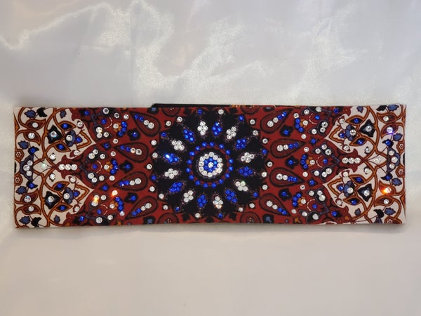 LeeAnnette Rust Indian Bandana With Blue and Clear Swarovski Crystals (Sku4034)