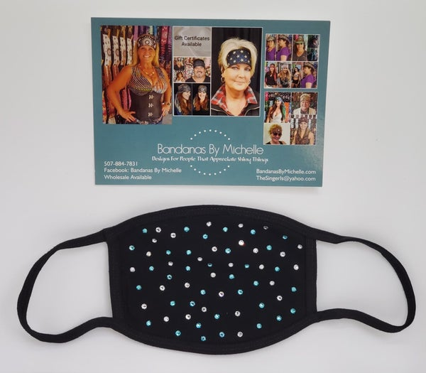 Black Face Mask with Turquoise and Diamond Clear Swarovski Crystals *Final Sale* (Sku5924)