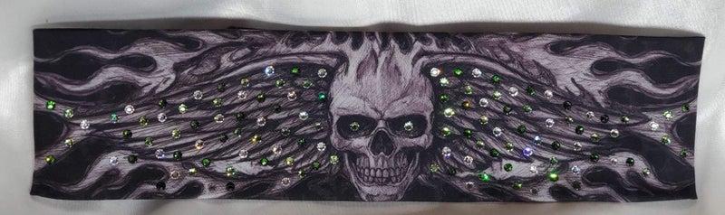 Wing Skull with Dark Green, Light Green and Diamond Clear Swarovski Crystals (Sku1573)