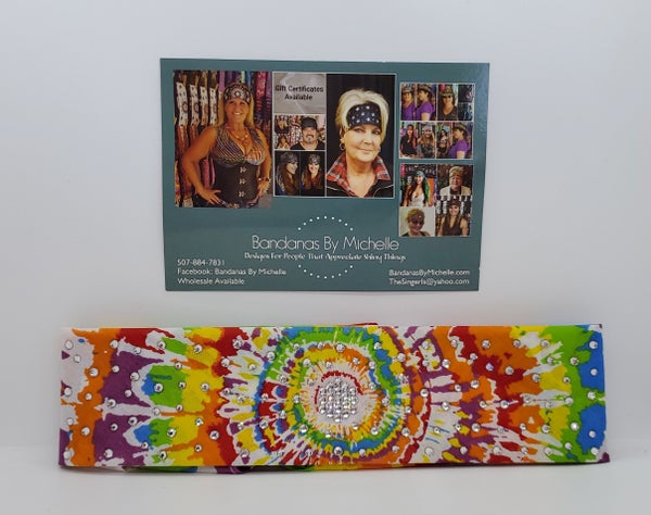 Narrow Spiral Tie Dye Designed Bandana With Clear Swarovski Crystals(Sku1842)