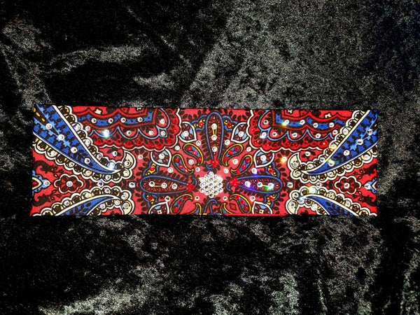 Red Indian Bandana with Red and Diamond Clear Swarovski Crystals (Sku1201)