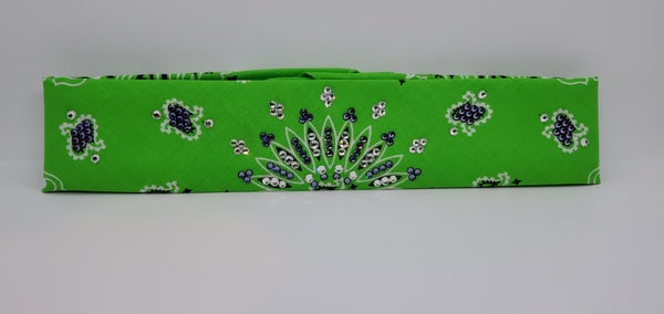 Narrow Lime Green Paisley with Diamond Clear and Light Purple Austrian Crystals (Sku2511)