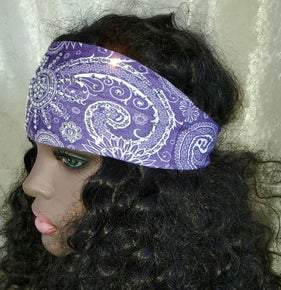 Stretchy Purple Sun Spiral Headband with Clear Crystals (Sku5022)