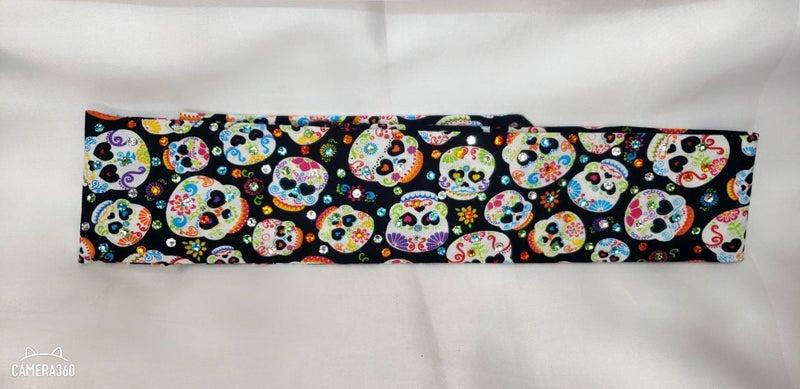 Narrow Colorful Sugar Skulls with Multi-Colored Swarovski Crystals (Sku1793)
