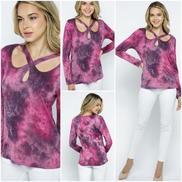 Raspberry and Navy long sleeve crisscross Shirt with rhinestones (1812RNL)