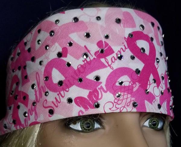 Pink Breast Cancer Bandana with Diamond Clear Swarovski Crystals (Sku1424)