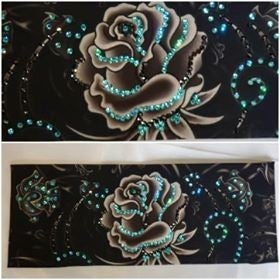 Large Grey Rose with Turquoise, Green and Black Swarovski Crystals