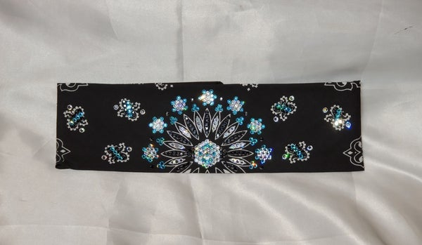 LeeAnnette Black Paisley with Turquoise and Diamond Clear Swarovski Crystals (Sku4213)