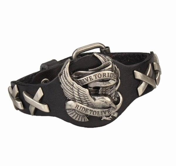 Live To Ride* Ride To Live Leather Bracelet (sku8327)