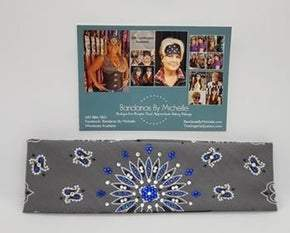 Charcoal Paisley with Blue and Diamond Clear Swarovski Crystals (Sku2469)
