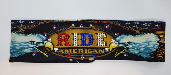 RIDE American with Red, Blue and Diamond Clear Swarovski Crystals (Sku1087)