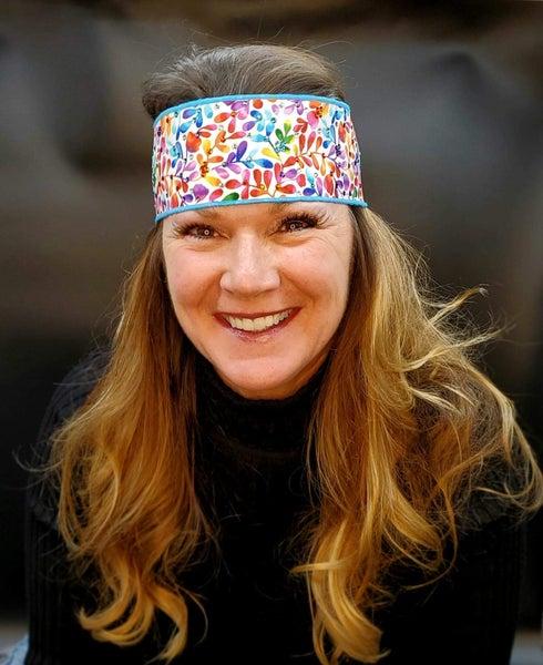 Bright Leaves Headband Strip with Multi-Colors of Swarovski Crystals (Sku5524)