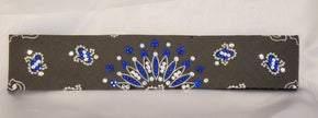 Narrow Charcoal Paisley with Blue and Diamond Clear Swarovski Crystals (sku2460)