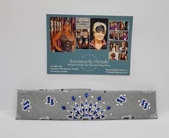 Narrow Silver Paisley with Blue and Diamond Clear Swarovski Crystals (Sku2116)