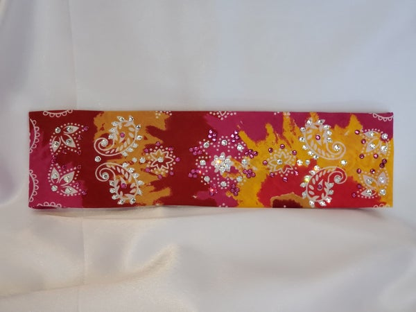 Tie-dyed Red, Pink and Yellow with Fuchsia and Diamond Clear Swarovski Crystals (Sku9949)