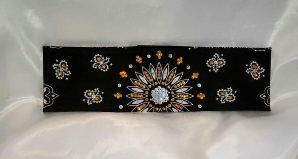 Black Paisley With Yellow and Diamond Clear Swarovski Crystals (Sku1942)