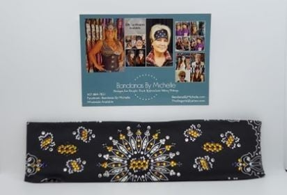 LeeAnnette Black Paisley with Yellow, Purple and Diamond Clear Swarovski Crystals (Sku4462)