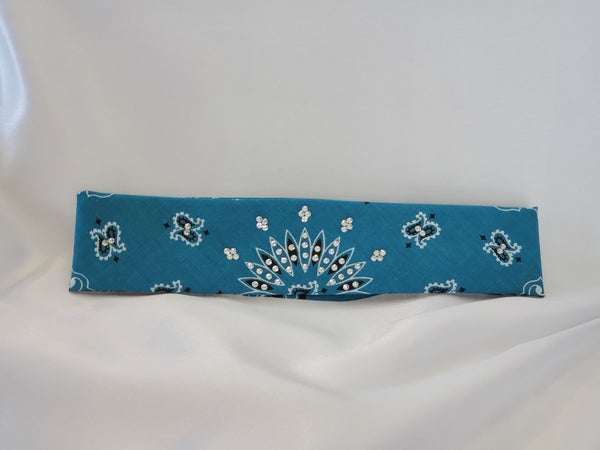 Dark Teal Paisley with Diamond Clear Crystals (Sku8047)