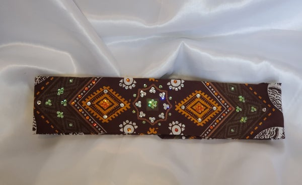 Narrow Aztec Brown Elephant with Light Green, Orange and Diamond Clear Crystals (Sku1175)