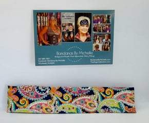 Narrow Bright Colored Paisley on Blue with Multi-colors of Swarovski Crystals (Sku1082)