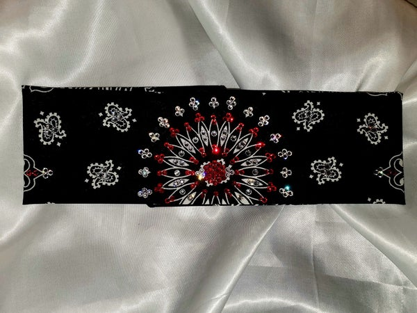 EXTRA BLING - Black Paisley With Red and Diamond Clear Swarovski Crystals (Sku4601)