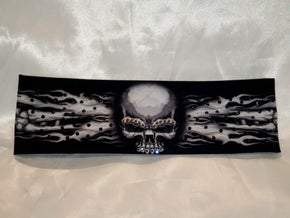 Flame Skull Bandana with Black Swarovski Crystals (Sku1512)