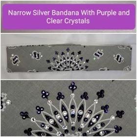 Narrow Silver Paisley with Dark Purple and Diamond Clear Swarovski Crystals (Sku2111)