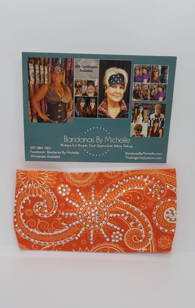 Stretchy Orange Sun Spiral Headband with Clear Crystals (Sku5027)