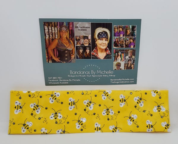 Regular  Width Yellow Bumble Bee Custom Bandana (Sku1837)