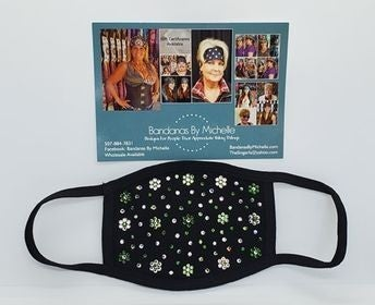 Black Face Mask with Dark Green, Light Green and Diamond Clear Swarovski Crystals (Sku5901)