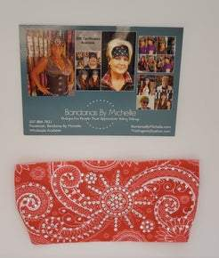 Stretchy Headband Pinkish/Coral with Diamond Clear Crystals (Sku5024)