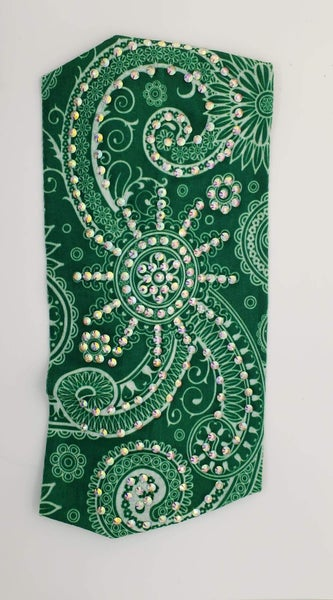 Stretchy Green Headband with Aurora Borealis Crystals (Sku5110)