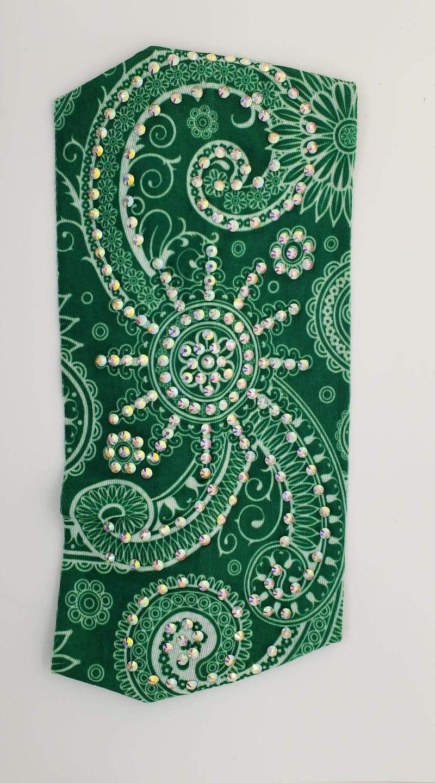 Stretchy Green Headband with Aurora Borealis Crystals (Sku5110)
