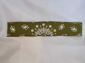 Narrow Olive Green Paisley With Diamond Clear Swarovski Crystals (Sku2176)
