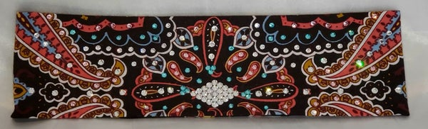 Black coral Indian bandana with Turquoise, Light Pink and Diamond Clear Swarovski crystals (Sku1410)