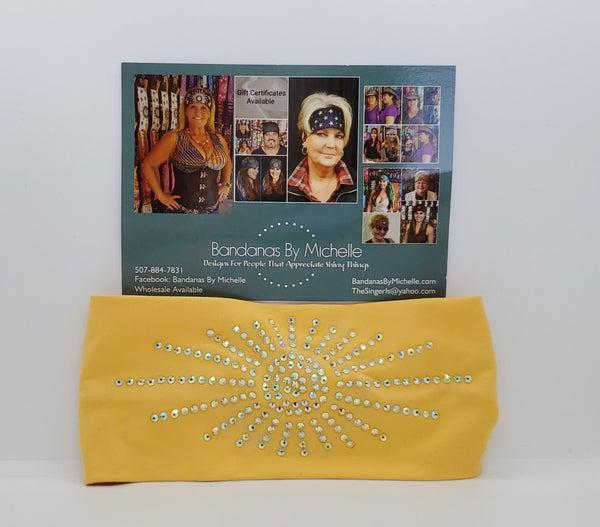 Super Soft Yellow Stretchy Headband With Aurora Borealis Crystal Rhinestones (Sku5010)