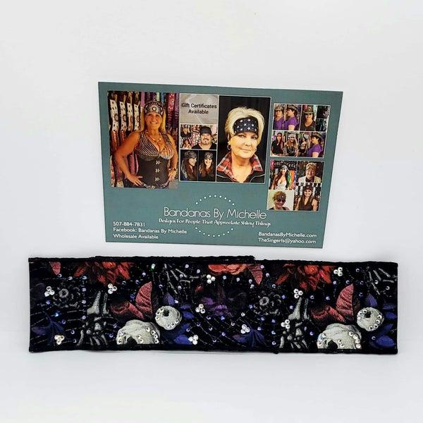 Purple and Black Rose Skeleton Hand Headband Strip with Multi-Colors of Swarovski Crystals (Sku5540)