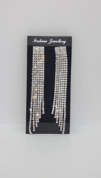 STUNNING Long Tassel Crystal Earrings (Sku8302)