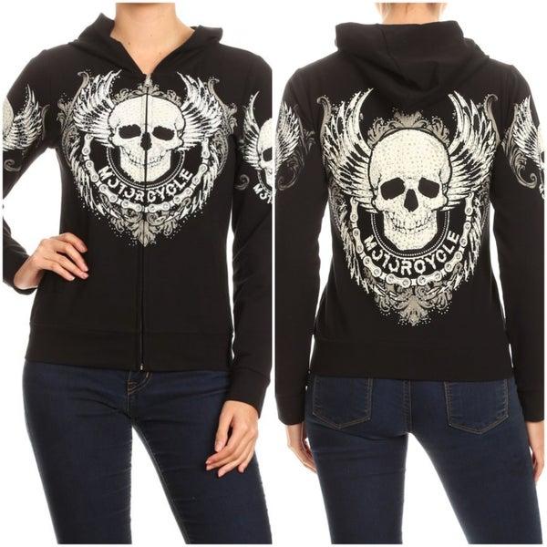 Plus Size Black Hooded Jacket with Skull