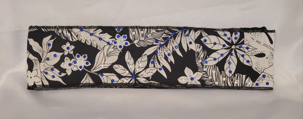 Headband Blue and White Jungle Leaves with Blue and Diamond Clear Swarovski Crystals (Sku9200)