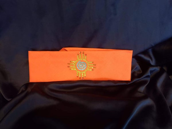 Zia on Orange with Yellow, Orange and Turquoise Swarovski Crystals (Sku9708)