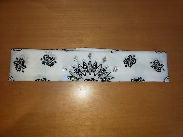 Narrow Bargain White Paisley with Diamond Clear Crystals (Sku8056)
