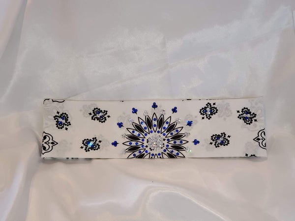 White Paisley with blue and Diamond Clear Swarovski Crystals (Sku2023)