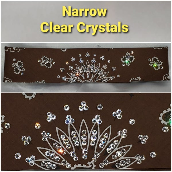 Narrow Brown Paisley with Diamond Clear Swarovski Crystals (Sku2128)