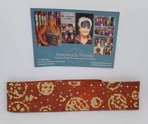 Narrow Orange Batik with Orange and Diamond Clear Swarovski Crystals (Sku9938)